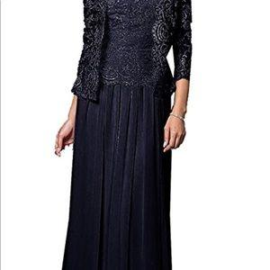 Dresses & Skirts - Jaeden. 3/4 Sleeve Floor Length Navy Dress